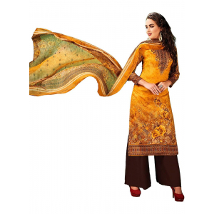 Generic Women's Cotton Salwar Material (Orange, 2.5 Mtr)