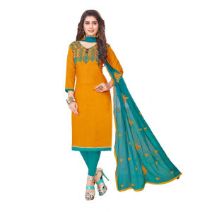 Turvi Women's Slub Cotton Salwar Material (Orange, 2 Mtr)