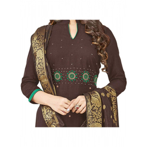 Generic Women's South Slub Cotton Salwar Material (Brown, 2 Mtr)