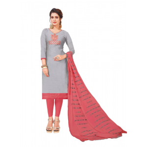 Generic Women's Modal Silk Salwar Material (Light Grey, 2 Mtr)