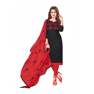 Turvi Women's Slub Cotton Salwar Material (Black, 2 Mtr)