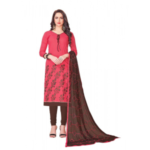 Generic Women's Slub Cotton Salwar Material (Light Red, 2 Mtr)