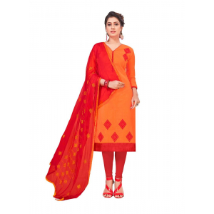 Generic Women's Slub Cotton Salwar Material (Orange, 2 Mtr)