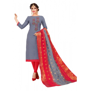 Generic Women's South Slub Cotton Salwar Material (Grey, 2 Mtr)