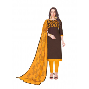 Turvi Women's Glaze Cotton Salwar Material (Brown, 2 Mtr)