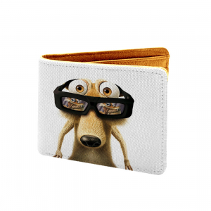 Ice Age Cartoon Design White Canvas, Artificial Leather Wallet