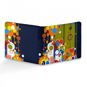 Dil Pattern  Design Multi color Canvas, Artificial Leather Wallet