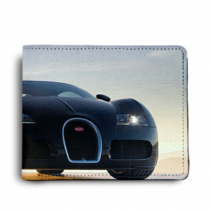 Car Design White Canvas, Artificial Leather Wallet