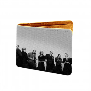 Famous Man Design Grey Canvas, Artificial Leather Wallet