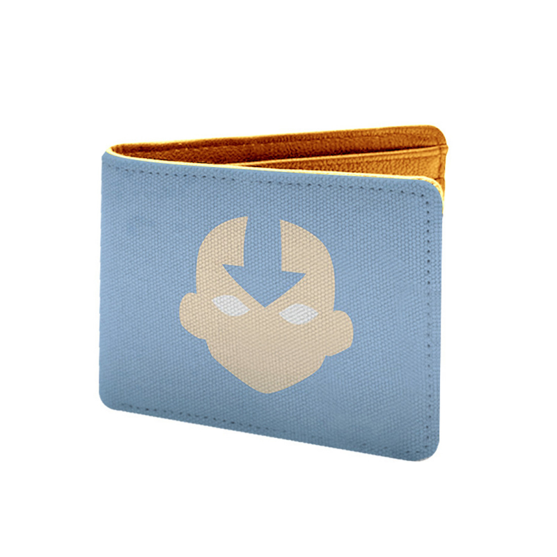 Cartoon  Design Blue Canvas, Artificial Leather Wallet
