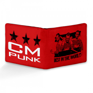 Cm Punk Design Red Canvas, Artificial Leather Wallet
