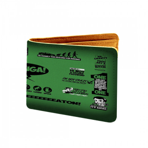 Bazinga Design Green Canvas, Artificial Leather Wallet