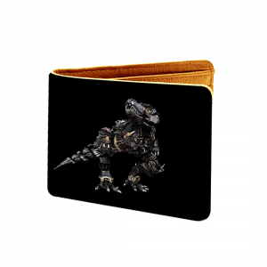 Robotic Real Dinosaur Design Black Canvas, Artificial Leather Wallet