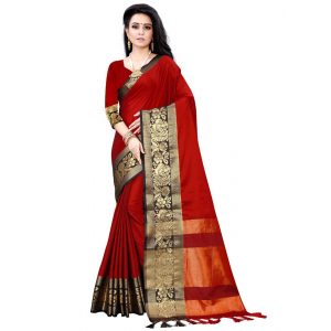 Generic Women's Cotton Silk Saree (Red, 5-6 Mtrs)