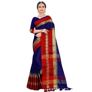Generic Women's Cotton silk Saree (Navy Blue, 5-6 Mtrs)