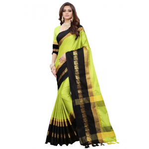 Generic Women's Cotton Silk Saree (Green, 5-6 Mtrs)