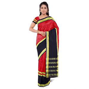 Generic Women's Cotton Silk Saree (Red and Black, 5-6 Mtrs)