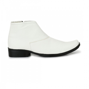 Generic Men's White Color Leatherette Material  Casual Boots