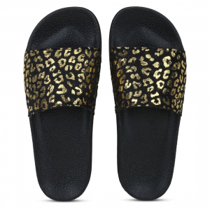 Generic Women Black and Gold Color Synthetic Material  Casual Sliders