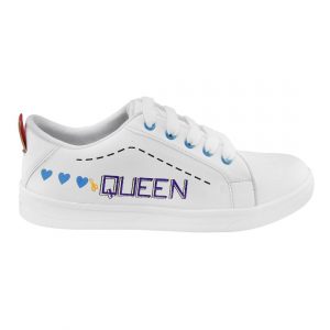 Generic Women White,Blue Color Leatherette Material  Casual Sneakers