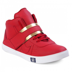 Generic Men Red Color Synthetic Leather Material  Casual Sneakers
