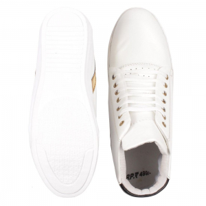 Generic Men White,Gold,Black Color Leatherette Material  Casual Sneakers