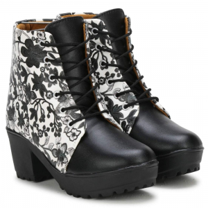 Generic Women Black,White Color Leatherette Material  Casual Boots