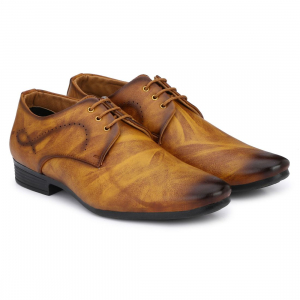 Generic Men Tan Brown Color Nappa Leather Material  Casual Formal Shoes