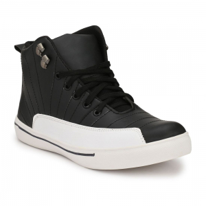 Generic Men Black,White Color Leatherette Material  Casual Sneakers