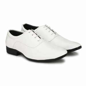 Generic Men White Color Patent Leather Material  Casual Formal Shoes