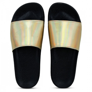 Generic Women Gold Color Synthetic Material  Casual Sliders
