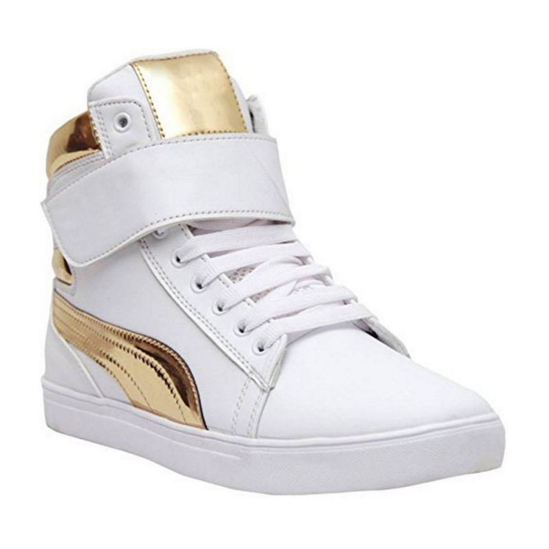 Generic Men White,Gold Color Synthetic Material  Casual Sneakers