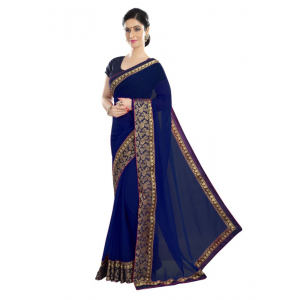 Generic Women's Chiffon Saree (Navy Blue, 5-6 Mtrs)
