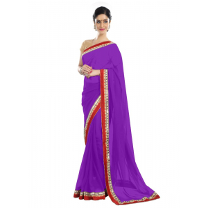 Generic Women's Chiffon Saree (Purple, 5-6 Mtrs)