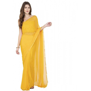 Generic Women's Chiffon Saree (Yellow, 5-6 Mtrs)
