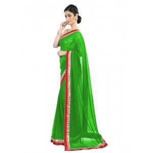 Generic Women's Chiffon Saree (Green, 5-6 Mtrs)