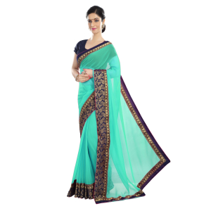 Generic Women's Chiffon Saree (Sea Green, 5-6 Mtrs)