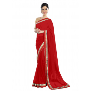 Generic Women's Chiffon Saree (Red, 5-6 Mtrs)