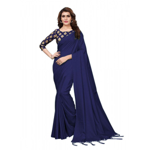 Generic Women's Zoya Silk Saree (Navy Blue, 5-6 Mtrs)