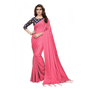 Generic Women's Zoya Silk Saree (Peach, 5-6 Mtrs)