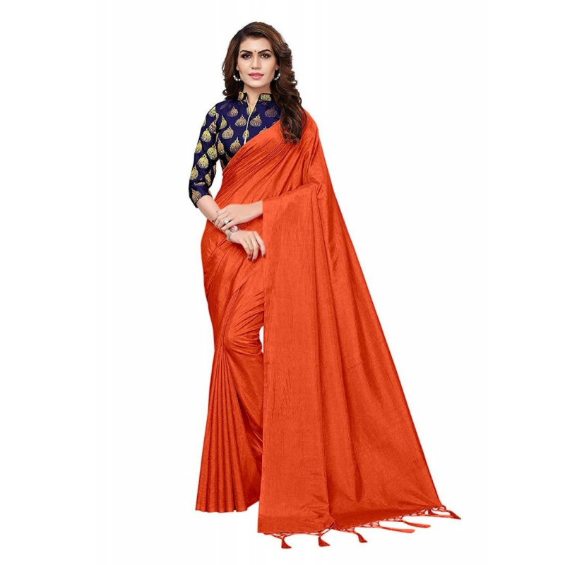 Generic Women's Zoya Silk Saree (Orange, 5-6 Mtrs)
