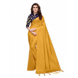 Generic Women's Zoya Silk Saree (Yellow, 5-6 Mtrs)