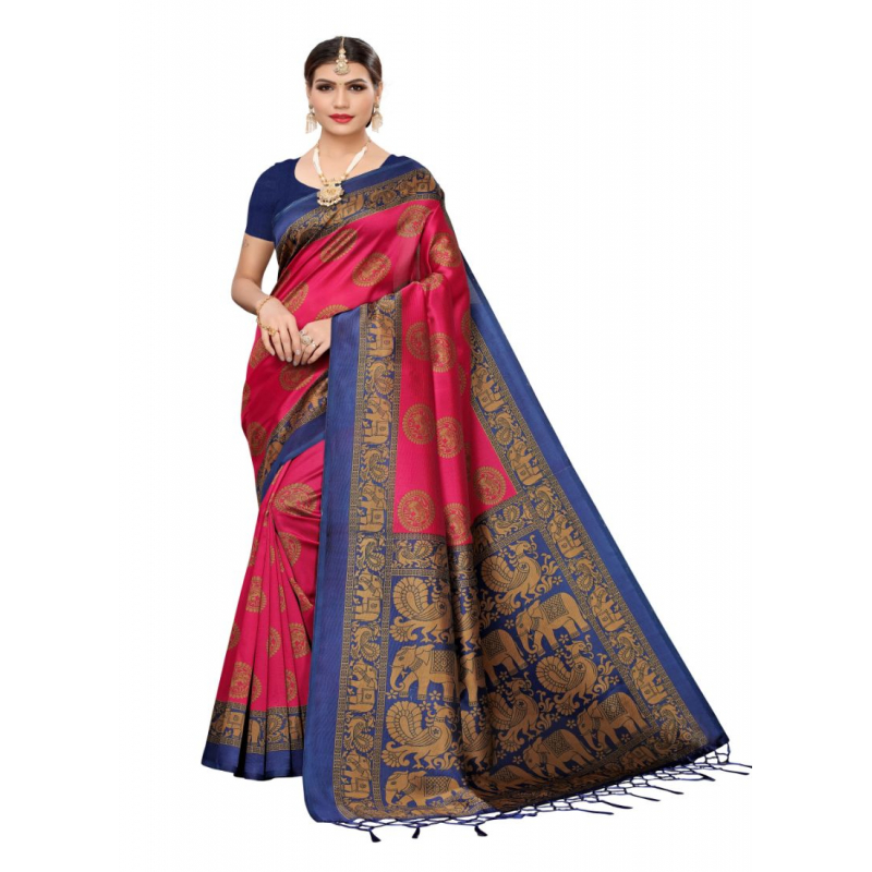 Generic Women's Art Silk Saree (Pink , 5-6 Mtrs)