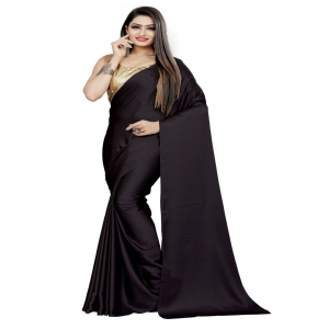 Generic Women's Satin Saree (Black, 5-6 Mtrs)