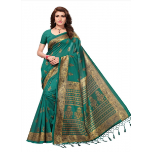 Generic Women's Art Silk Saree (Green, 5-6 Mtrs)