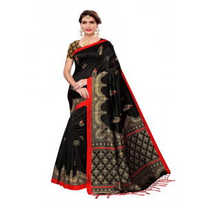 Generic Women's Art Silk Saree (Black, 5-6 Mtrs)