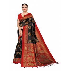 Generic Women's Art Silk Saree (Black , 5-6 Mtrs)