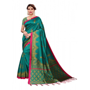 Generic Women's Art Silk Saree (Turquoise, 5-6 Mtrs)