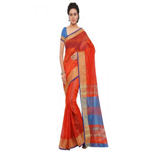 Generic Women's Tussar Silk Saree (Orange, 5-6 Mtrs)