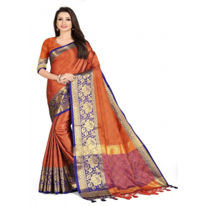 Generic Women's Cotton Silk,Jacquard,Poly Silk Saree (Orange, 5-6 Mtrs)